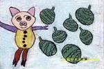 小猪偷瓜儿童画