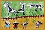 看斑马儿童画