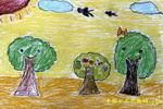 大树一家儿童画