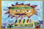 给太阳公公过生日油画棒儿童画