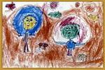 跳水比赛儿童画2幅