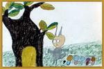 小兔子采蘑菇儿童画