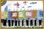 火车上的旅行儿童画
