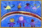 彩虹桥上的舞会儿童画