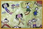 小小运动员油画棒儿童画