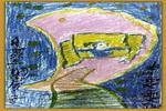月亮上的房子儿童画2幅