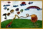 蜗牛跳高比赛儿童画