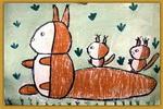 松鼠一家儿童画