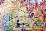 我和爷爷一起喂猪儿童画