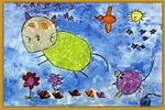 夜晚儿童画3幅
