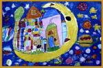 月亮上的城市儿童画
