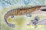 狐狸和鳄鱼儿童画