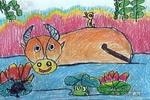 池塘里儿童画作品欣赏