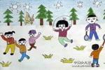 冬练油画棒儿童画