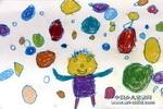我爱吹泡泡儿童画作品欣赏
