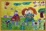 我和妈妈去郊游儿童画2幅