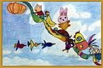 长在天上的大南瓜儿童画