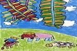 树荫下儿童画作品欣赏
