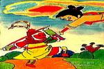哪吒大战齐天大圣儿童画作品欣赏