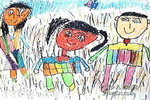 爸爸、妈妈和我儿童画4幅