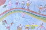 在彩虹上溜冰儿童画