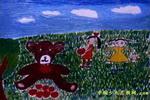 我喂狗熊吃苹果儿童画