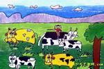 我的牛儿肥又壮儿童画