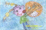 我和太阳亲一个儿童画