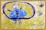转呼啦圈减肥的胖爸爸儿童画