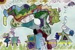 草地上的大树儿童画