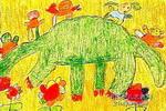 我和恐龙做朋友油画棒儿童画