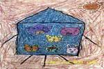 小动物遨游太空儿童画
