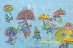 下雨了我为动物遮把伞儿童画图片
