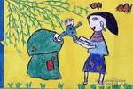 妈妈抱我扔垃圾儿童画作品欣赏