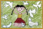 放飞和平儿童画2幅