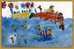 小鸡到海里旅游儿童画