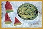 西瓜儿童画3幅