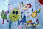 飞上天的小水滴儿童画