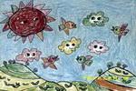小鸟追云朵儿童画