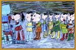 排队喝水儿童画