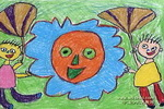 我给太阳扇扇扇儿儿童画作品欣赏