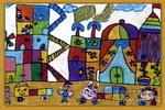 城市楼房儿童画