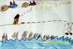 钩鱼儿童画2幅