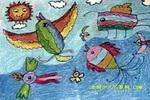 彩虹鸟儿童画