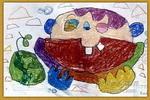 吃瓜油画棒儿童画