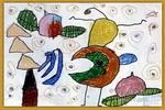 小猴倒立儿童画