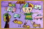 下雨了,真开心儿童画