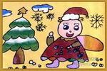 圣诞老人送礼物儿童画
