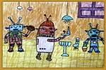 机器人餐厅油画棒儿童画