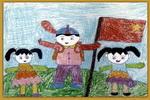 我们胜利了油画棒儿童画